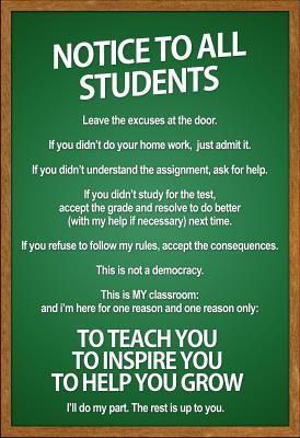 LOVE this. I tell my students that the classroom is not a democracy all the time...