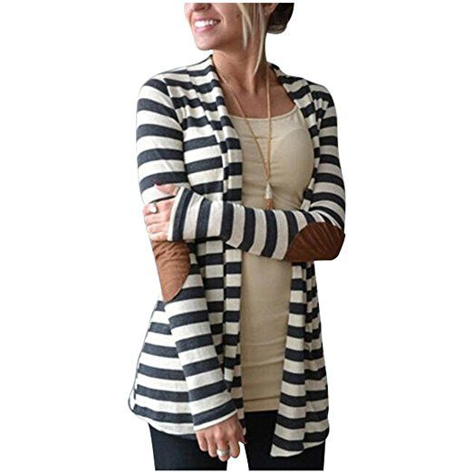 Women's Striped Cardigan - Material:85% Polyester 15% Cotton. - Extremely comfortable when you are wearing it. - Features: Shawl Collar, long sleeve, Dark Charcoal Gray & white striped, patch elbows o