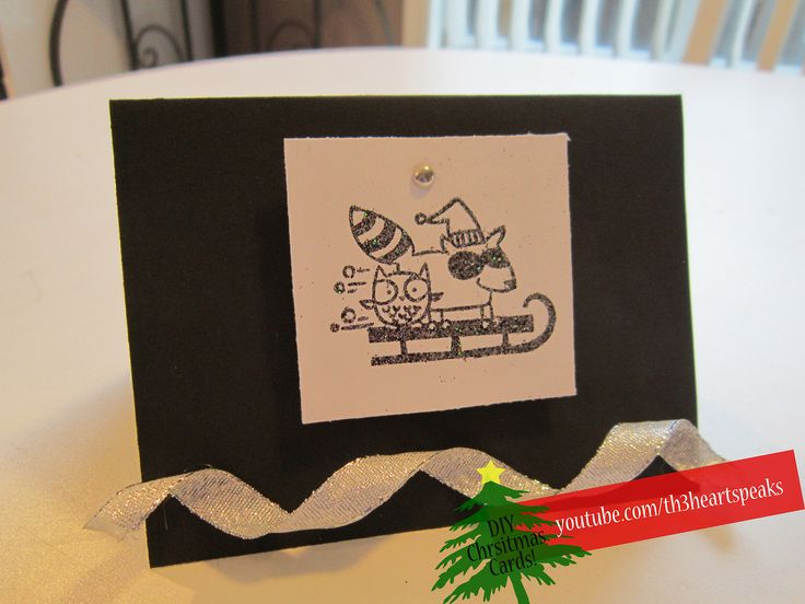 Black and Silver Holiday Card. Tutorial found on https://www.youtube.com/watch?v=3gZ6GeYznyE #holiday #diycards #th3heartspeaks #christmas