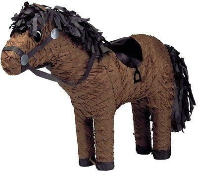 "This horse pinata is perfect for any party. 7""W x 21""L x 17""H This Pinata is the traditional style, so get out your Pinata bat and blindfold and get to the swee"
