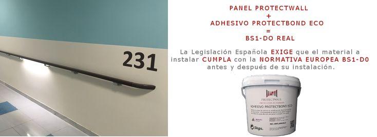 Revestimiento de paredes ProtectWall. Protección de paredes y puertas con PVC para hospitales, geriátricos, hoteles, gimnasios. Certificación Bs-1,d0.