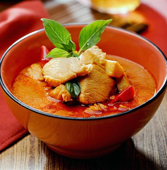 A classic recipe for Thai Red Curry prepared using authentic Thai ingredients. Temple of Thai recipes.