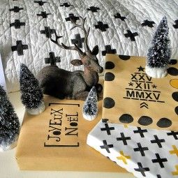 DIY papiers cadeaux pochoirs