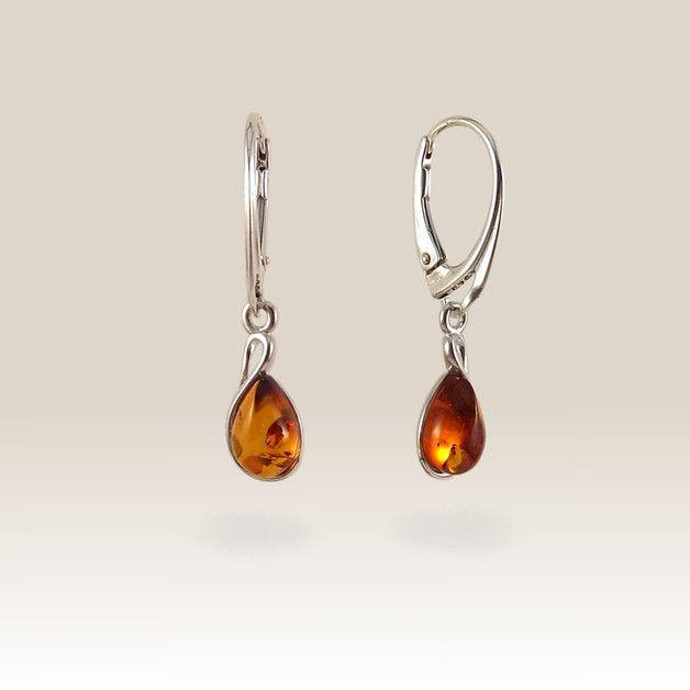Geschenke für Frauen - Bernstein Ohrring | Geburtstagsgeschenk | 31x7mm - ein Designerstück von ZaNa-Design bei DaWanda