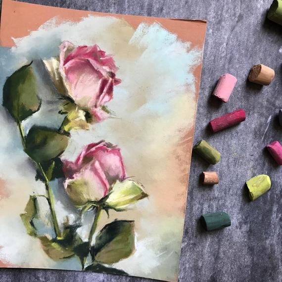 Roses Soft Pastels Painting, Original Flowers Painting