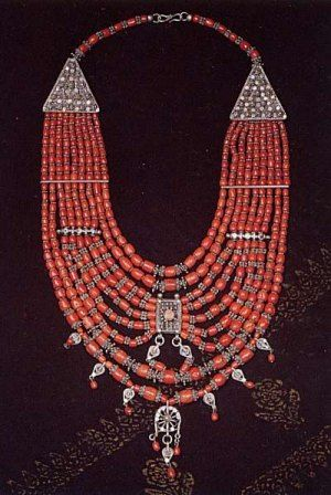 Yemen | Bowsani Lazem Silver and coral necklace.  | ca. beginning of the 20th century