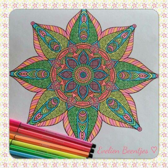 Mandala. Uit het derde enige echte mandala kleurboek voor volwassenen. Gemaakt met Neon Stabilo stiften door Evelien Beentjes ♡