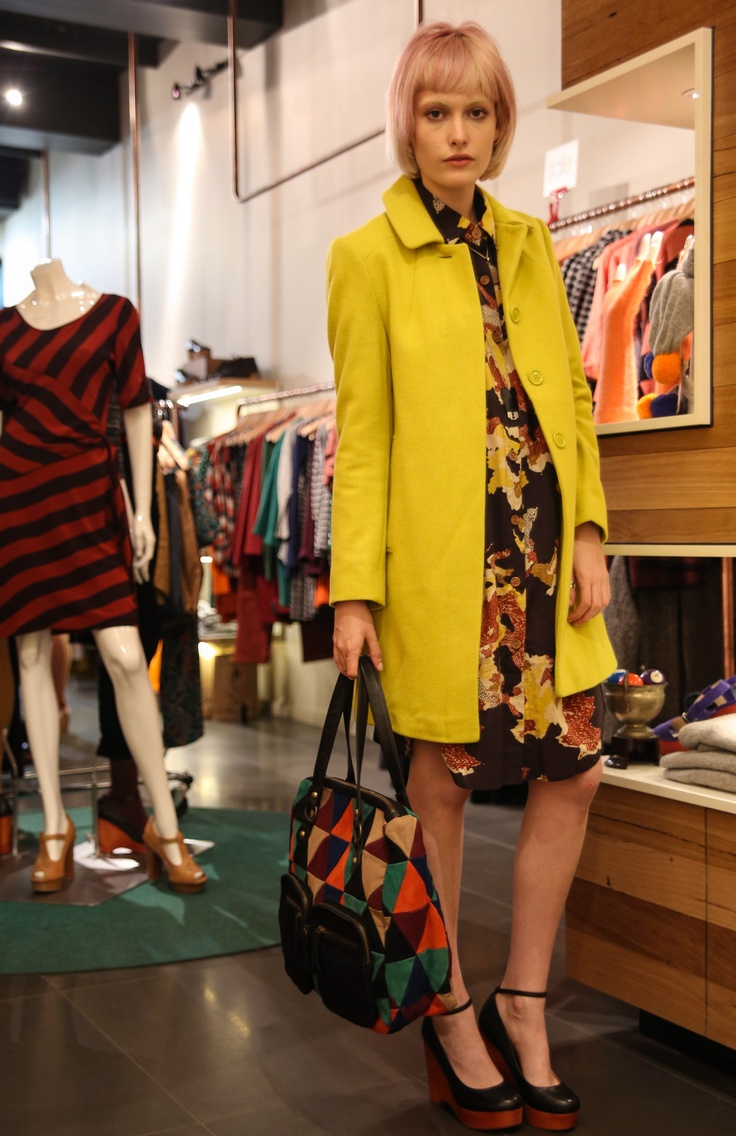 Styling fun with Gorman's current pieces. How amazing is this lemon-lime trench, and just as amazing patchwork suede bag! Adore. #fashion #style #gorman