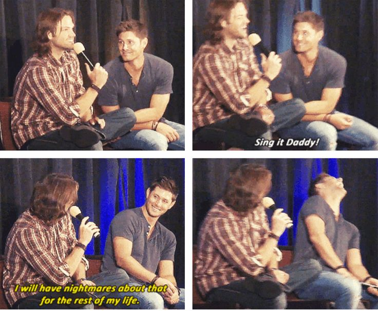 "[SET OF GIFS] ""Does Thomas have a favorite lullaby?""  Jensen and Jared convention panel #DallasCon2012"