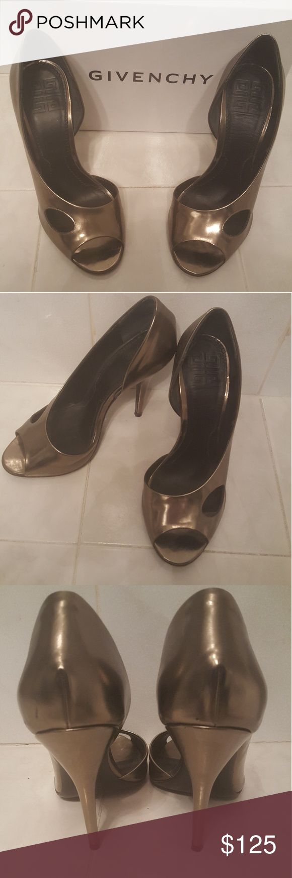 """Givenchy Gold Peep Toe Pumps Sz 7 Style name Garnette. 4 1/2"""" heel.  Gold Leather.   Size 7.  Excellent Condition.   Original Proce $440. Comes in Box. Givenchy Shoes Heels"""