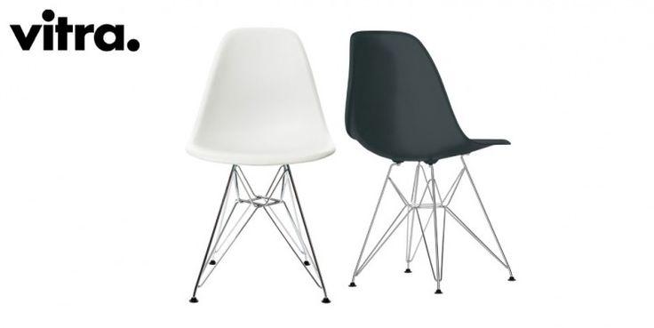 DSR-tuoli (313 €): DSR-tuolin istuin on  polypropyleeniä. Kromijalusta. Väreinä musta ja v alkoinen.Suunnittelijat Ray ja Charles Eames 1950. L 47 x K 81 x S 55 cm.