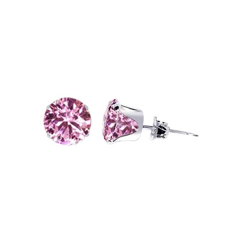 925 Silver 8mm Round Pink October Birthstone CZ Post Back Stud Earrings #TDEZ2070-P