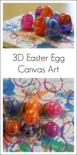 Grab some of those extra plastic eggs and create some Easter egg art with the kids. The preschoolers used the eggs to make 3D art on a canvas!