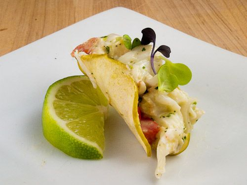 Alaskan King Crab Salad Tacos with homemade apple chips standing in for the taco shell