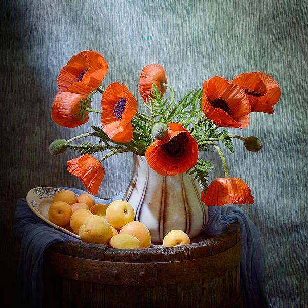 #still #life #photography • Poppies And Apricots Print By Nikolay Panov