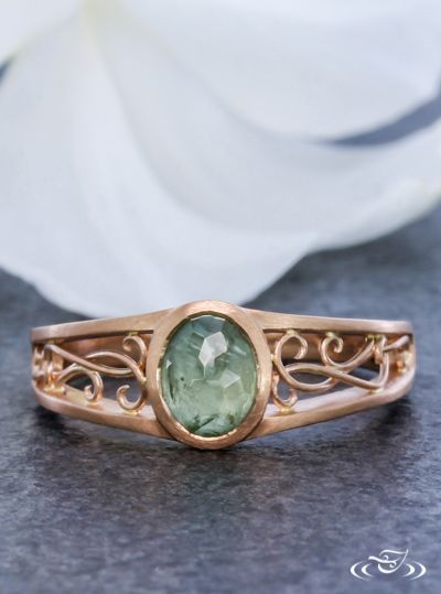 Green Montana Sapphire with Filigree Curls Engagement Ring Green Lake Jewelry