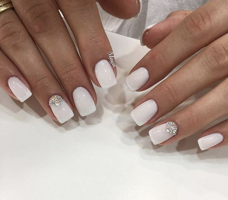 White Nail Ideas: White Nails With A Ghost French Tip