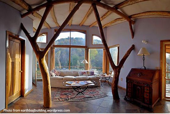 Inside An Earthbag House Earth Architecture Pinterest