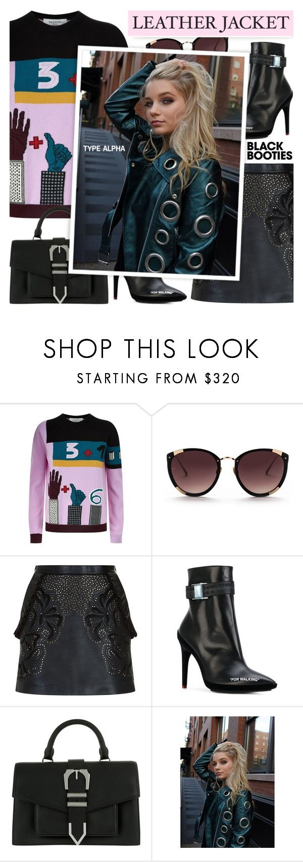 """""""Metallic Leather Moto with Grommets & Black Booties"""" by typealpha ❤ liked on Polyvore featuring Valentino, Rebecca Taylor, Elie Saab, Off-White and Versus"""