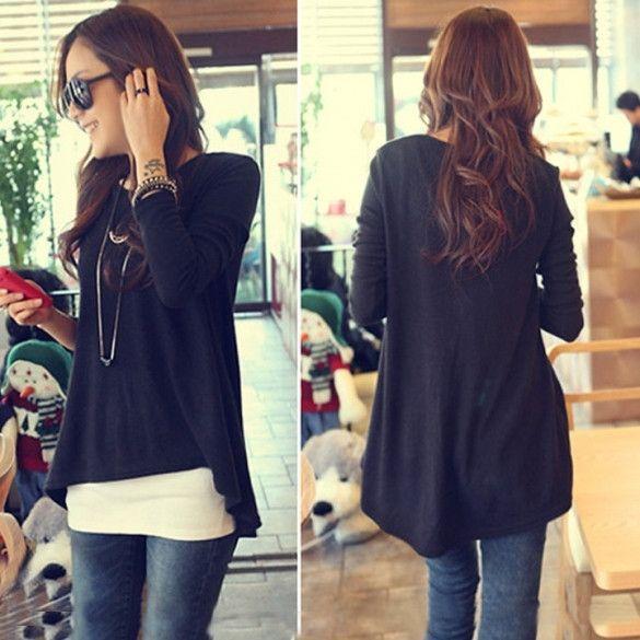New Korean Cotton Tops Batwing T-shirt Women Clothes Long Sleeve Irregular Fashion