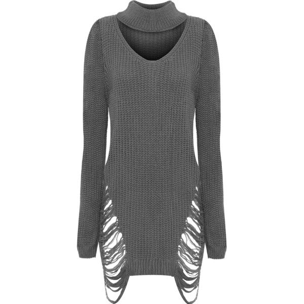 Joelle Choker Distressed Jumper Dress (€29) ❤ liked on Polyvore featuring dresses, dark grey, knee high dresses, long sleeve dresses, dark grey dress, cable knit dress and knee length dresses