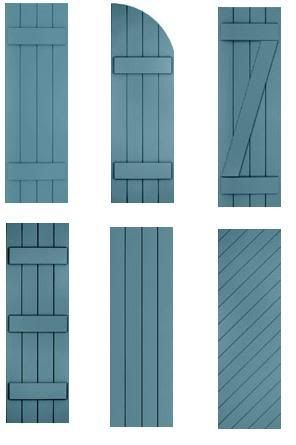 Shutters in black first style with working hinges and - Different styles of exterior shutters ...