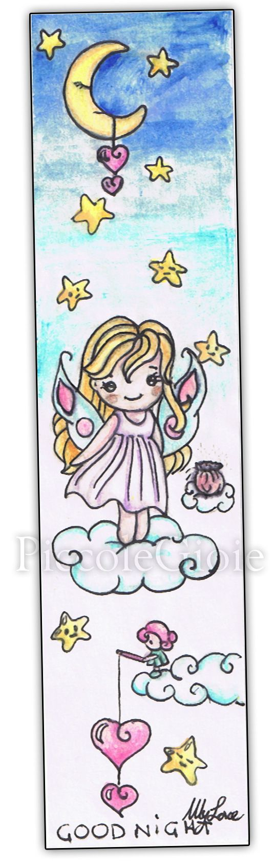 #bookmark #piccolegioie #drawings #dream #fairy sleep #kawaii #moon #stars #elf