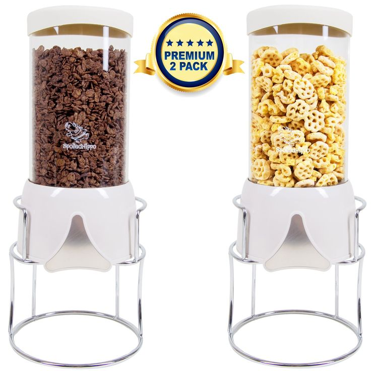 Cereal Dispenser - 2 PACK - Candy Dispenser Dry Food Dispenser - Countertop Food Container with Dispenser - Portion Control Food Storage For Cereals Corn Flakes Candy Pantry Rice Nuts Cat Dog Food