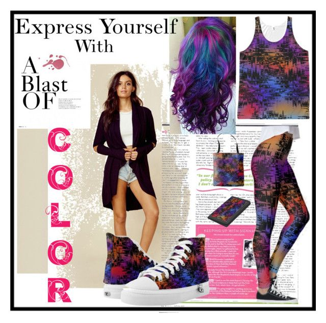 """""""Multi Colored Silhouette City Sunset"""" by mannzie on Polyvore featuring…"""