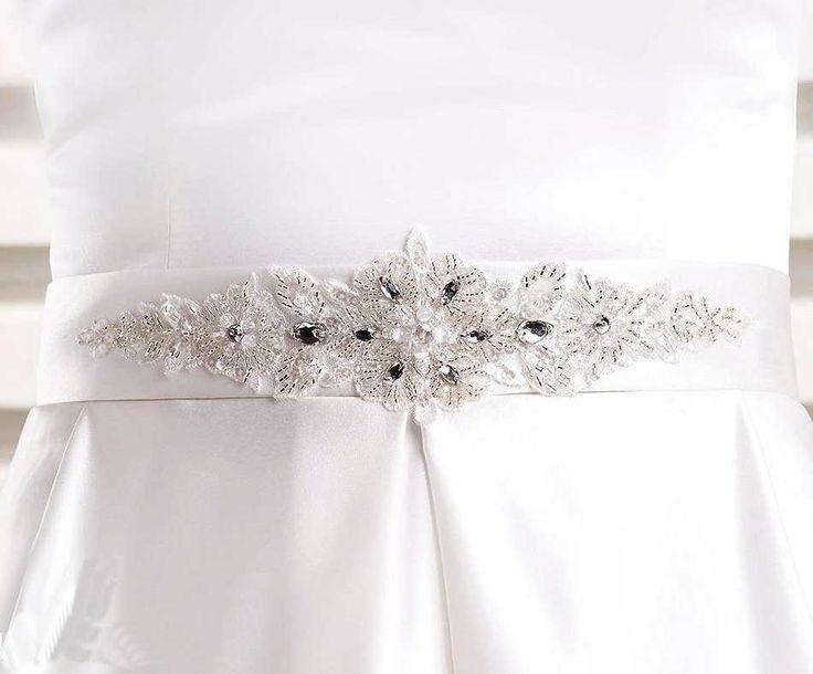 Ceinture robe de mariée satin large Theia