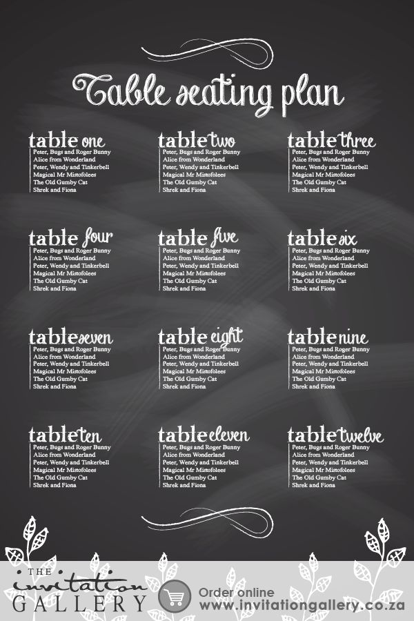 Seating plan poster with chalkboard fonts and textures. • Colours and text are customisable • Order at: http://www.invitationgallery.co.za/wedding-invitations-and-stationery/details/ING001-011
