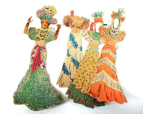 1942 Carmen Miranda Paper Doll Cut Ephemera Clothing Merrill Original Brazilian Bombshell Hollywood Starlet Film Actress Movie Costume Toys