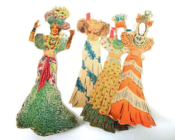 1942 Carmen Miranda Paper Doll Cut Ephemera Clothing Merrill Original Brazilian Bombshell Hollywood Starlet Film Actress Movie Costume Toys