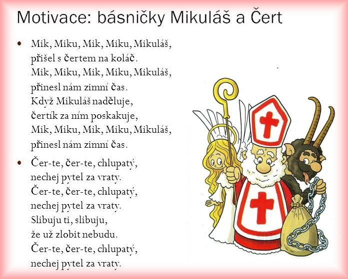 Výsledek obrázku pro mik miku mik miku mikuláš text