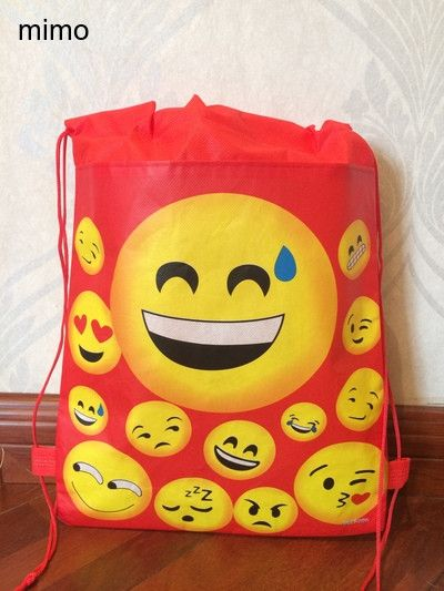 high qulity sweet heart smiley face kiss world school bag non-woven string shoe shopping bag with for boys party gifts bag