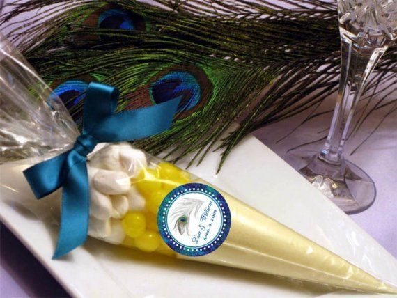 PEACOCK wedding LEMONADE CONE favors bridal shower by shadow090109, $2.99