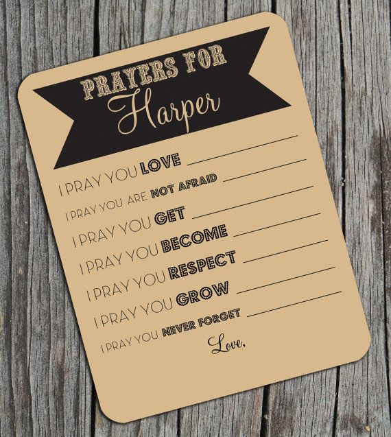 prayer cards. Would be great at a baby shower or for people to fill out at a first birthday (since they don't really need a lot of gifts)