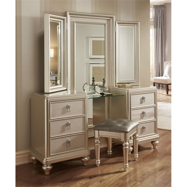 Samuel Lawrence Diva Vanity Set With Stool In Silver