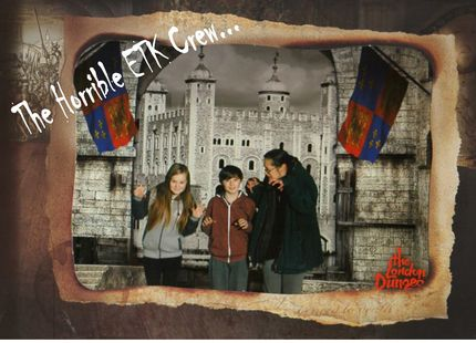 """The London Dungeon - ETK Family image : Oh My Goodness!  What an experience!  An experience that sent chills running through the spines of the spines of me (Ali) and my kids (Sam & Heather).  We were delighted to be invited to visit The London Dungeon with a view to writing a review for Entertain the Kids.  I even managed to bag myself a bargain and grabbed myself a """"rat mat"""" souvenir as I go about my business with our sister-Company ETK Lettings."""