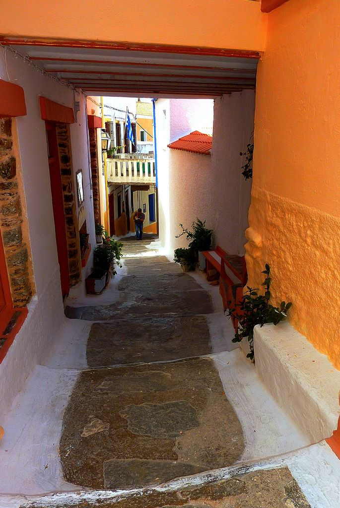 Covered street in Loulida, Kea Island, Cyclades, Greece,Hellas, Summer in Greece,