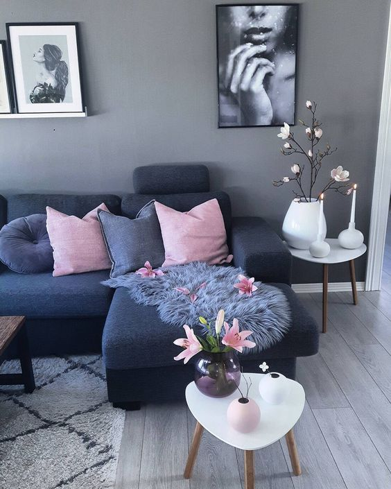 Ordinaire Grey Blue Livingroom With Rose Ans White Akzente