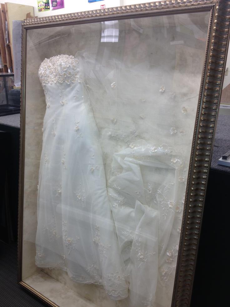 I want to frame my grandma's tea length wedding dress and hang it in my walk-in closet.   (Framed Wedding Dress/Full Length 65x45)