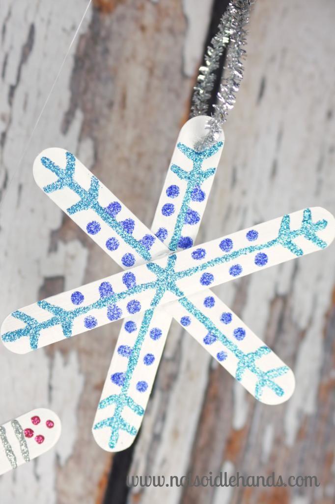Popsicle Stick Snowflake Ornaments By NotSoIdleHands.com