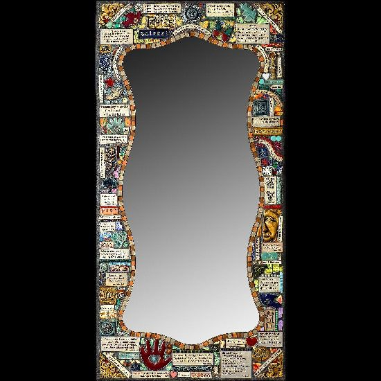 """I met these artists at the Edina Art Fair and still think about their beautiful artwork often. One piece was a gorgeous mirror with many music quotes including my favorite Paul McCartney song, """"And in the end the love you take is equal to the love you make.""""  Mindy & Greg Rhoads"""