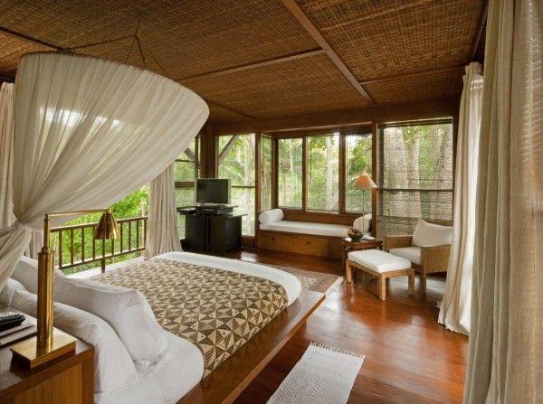 Como Shambhala Estate Bali- bamboo matting and wood organic interior of guest room