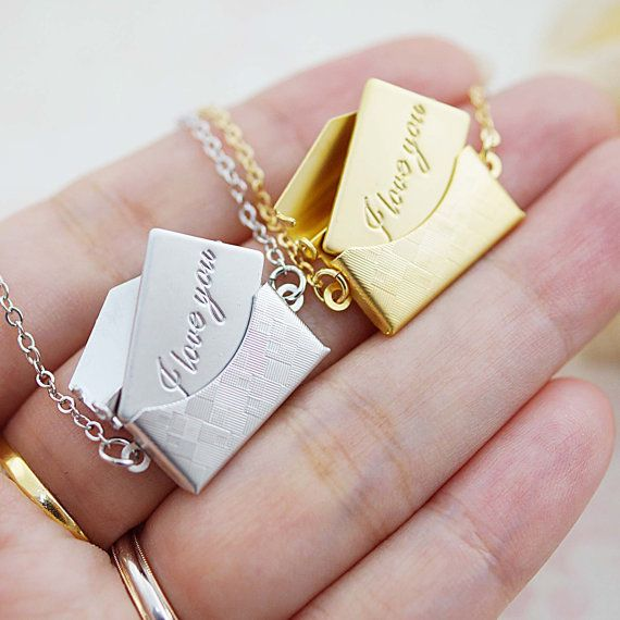 "Mini envelope locket with ""I Love You"" message Necklace Christmas Gift for her, Minimalist, mod modern style charm necklace"