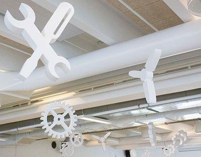 ByCatfish (erhvervsudsmykning) har hjulpet Dansk Ingeniør Service med en forbedring af akustikken i kantinen.