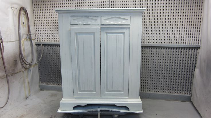 The distressing is completed and the cabinet is ready to be glazed by AM Furniture Finishing.