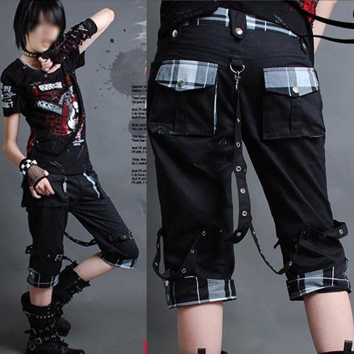 Black Plaid Punk Rave Goth Clothing Stores Plaid Cropped Pants Capris