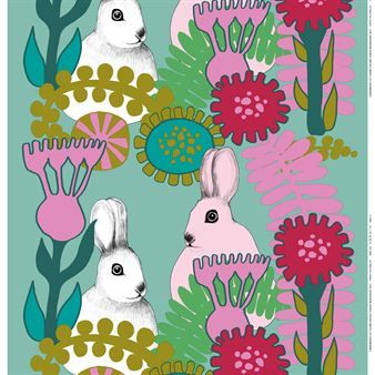 Marimekko meets the Easter Bunny. Could be sweet in a girl's bedroom year-round? Or too redolent of peeps and chocolate eggs?